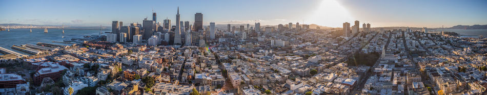 Bay Bridge Buisness Business District Business Finance And Industry Cali California City Cityscape Day Nature Outdoors Panoramic San Francisco Sky Sun Sunlight Sunset The Bay Travel Travel Destinations Travelling Urban Skyline View