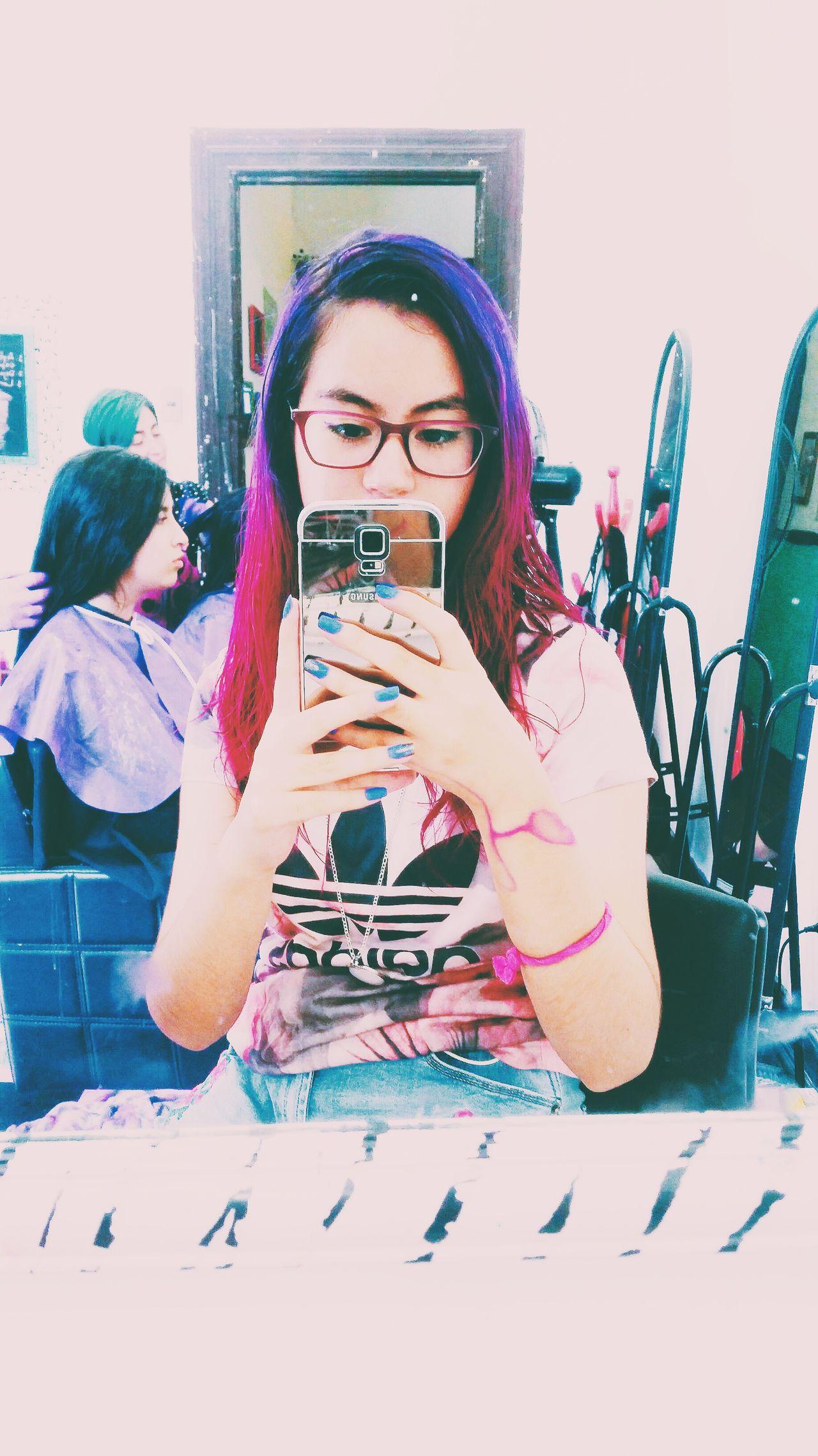 Hair Haircolor Hair Color Hairdye Purplehair Fucsiahair Portrait Taking Photos Photo One Person Check This Out Vscocam