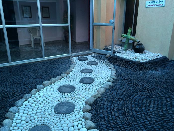 Door Pattern No People Textured  Doormat Day Outdoors Architecture Pot Chair Foot Way Foot Path Stones Rocks Black And White Round Stones Black Stones White Stones Pebbles Big Marbles