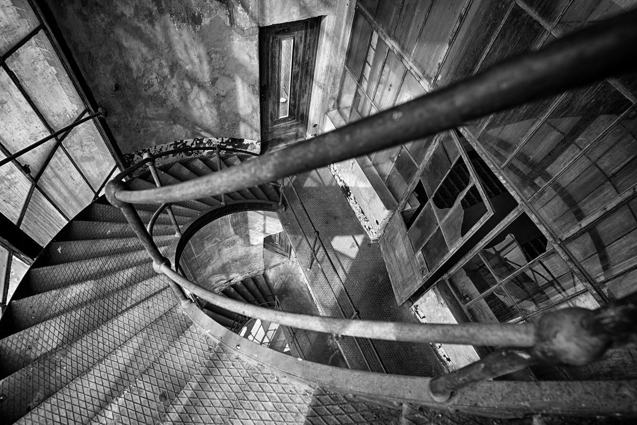 Architecture Building Story Built Structure Circle Coil Hand Rail Indoors  No People Railing Stairs Steps Surface Level