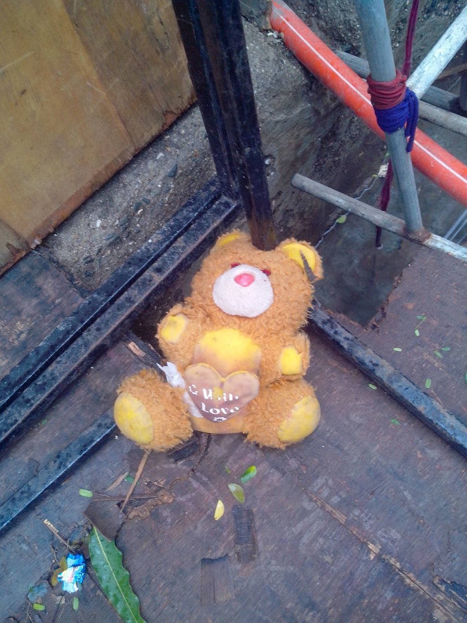 high angle view, no people, wood - material, indoors, day, stuffed toy, anthropomorphic face, close-up
