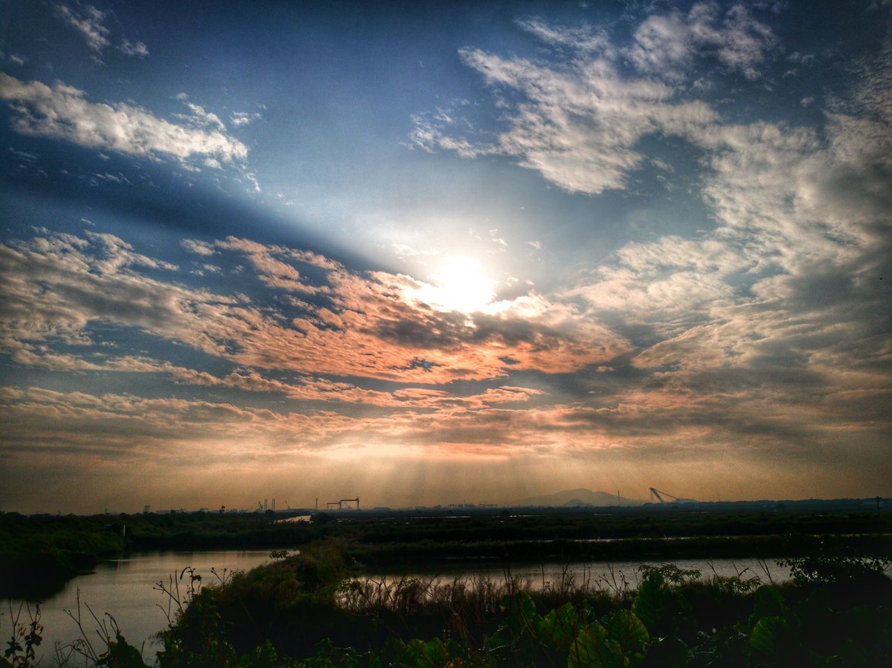 scenics, tranquil scene, sky, sunset, nature, tranquility, beauty in nature, water, cloud - sky, reflection, lake, no people, outdoors, landscape, day
