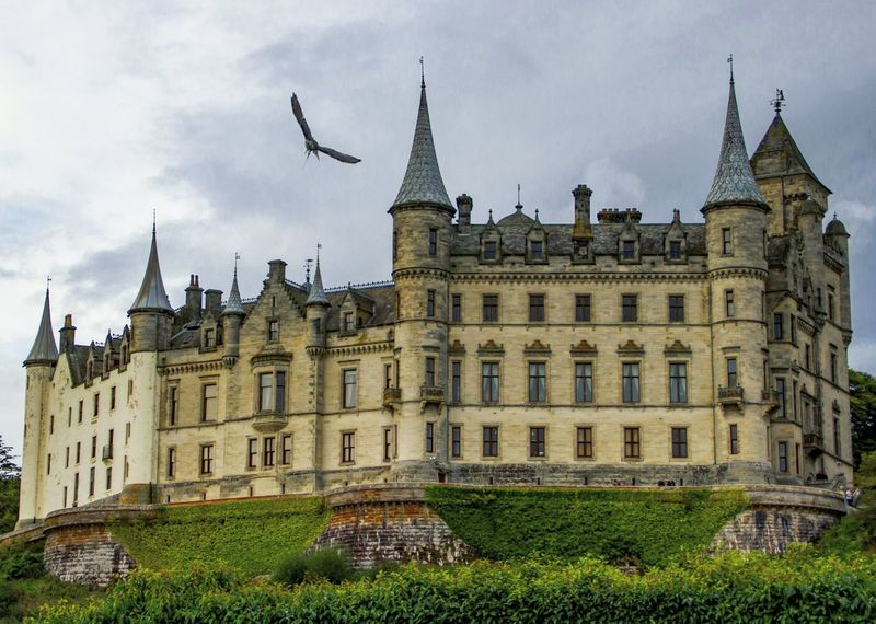 Building Exterior Architecture Government Travel Destinations Built Structure Government Building City Politics And Government Sky Cloud - Sky No People Outdoors Horizontal Clock Tower Day Cultures Clock DunrobinCastle Travel Photography Bird In Flight Copy Space Scotland Majestic
