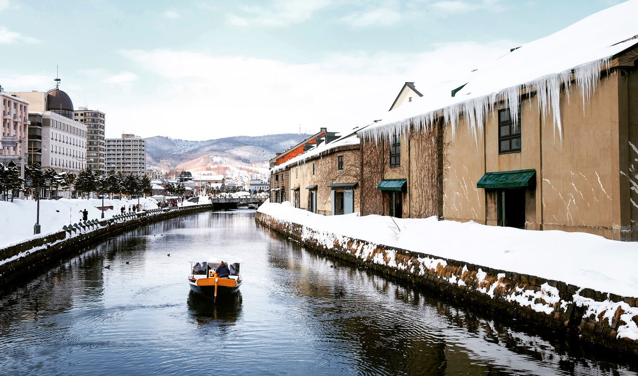 otaru canal Architecture Beauty In Nature Building Exterior Built Structure Cloud - Sky Cold Temperature Day Mode Of Transport Mountain Nature Nautical Vessel Outdoors Real People Sky Snow Transportation Water Waterfront Winter
