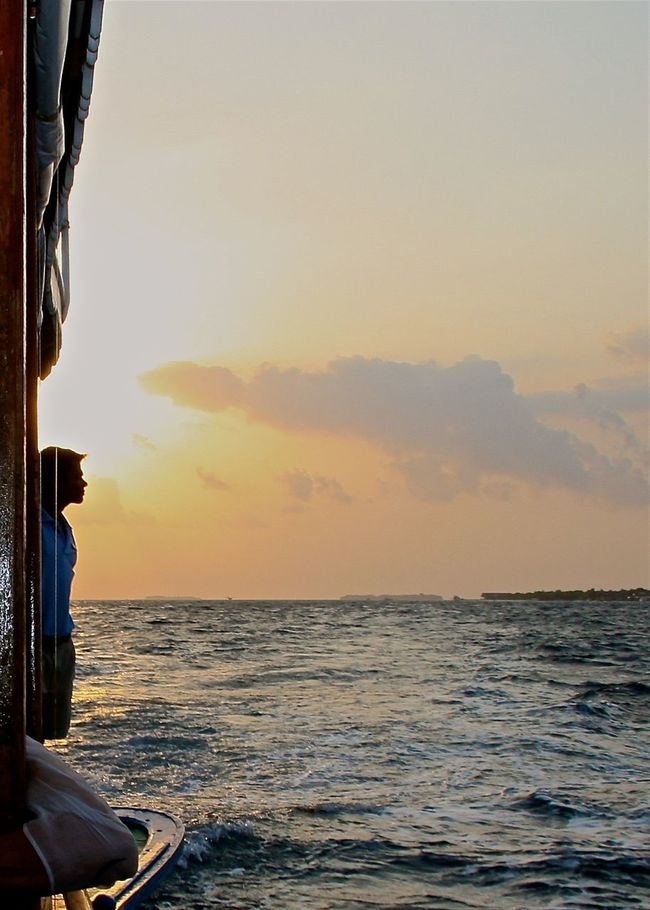 Beauty In Nature Boattrip Enjoying Life EyeEm Best Shots Focus Object Hello World Horizon Over Water Idyllic Island Looking To The Other Side Maldives Man Nautical Vessel Scenic View Scenics Sea Sky Sunset Sunset Silhouettes Taking Photos Travel Unrecognizable Person Vacations Water Wave