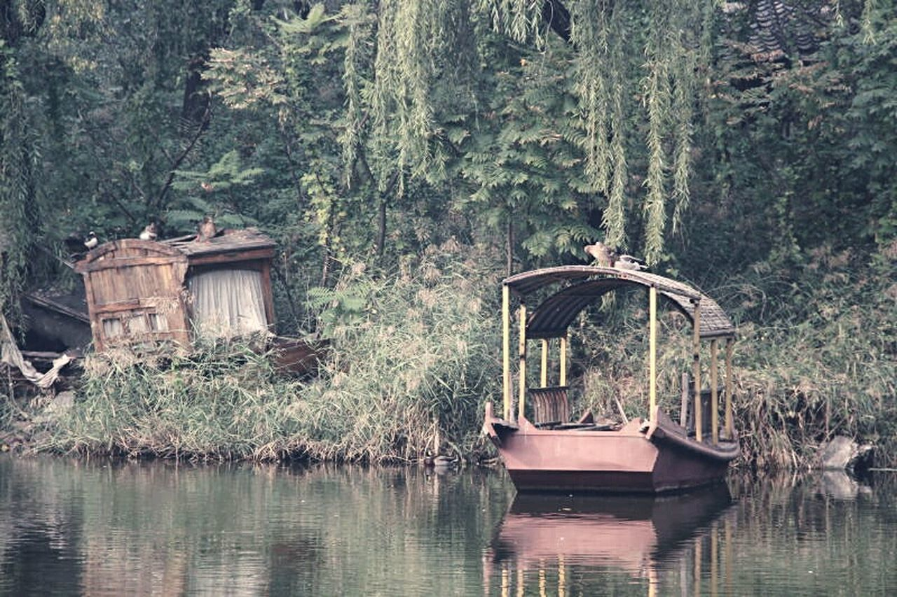 Deceptively Simple Boat At The Park Chinese Style Duck Shipwreck Traveling Old Fashion Ship Autumn Colors Zen Visual Poetry Poetry Telling Stories Differently Oriental Style A Moment Of Zen... A Moment In Time