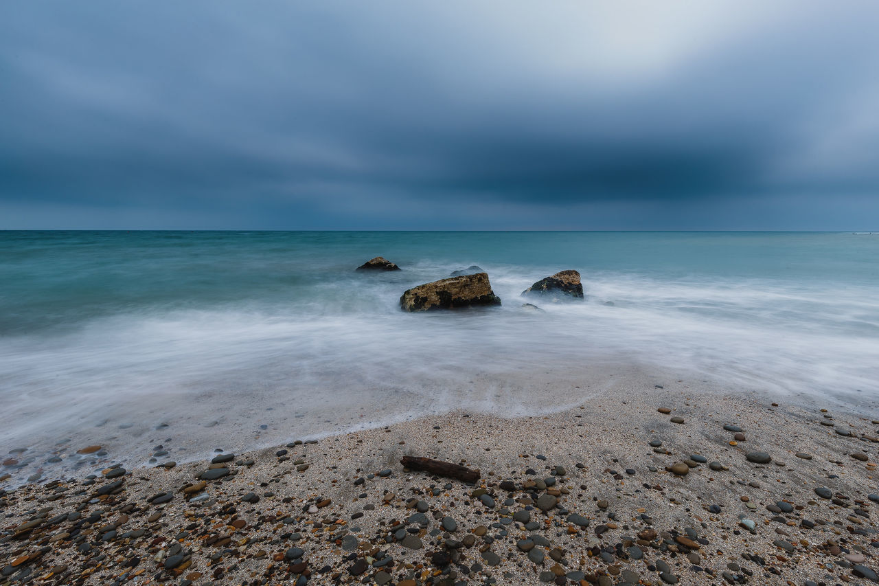 Beach Beauty In Nature Cloud - Sky Day Horizon Over Water Nature No People Outdoors Rock - Object Scenics Sea Sky Tranquility Water Wave