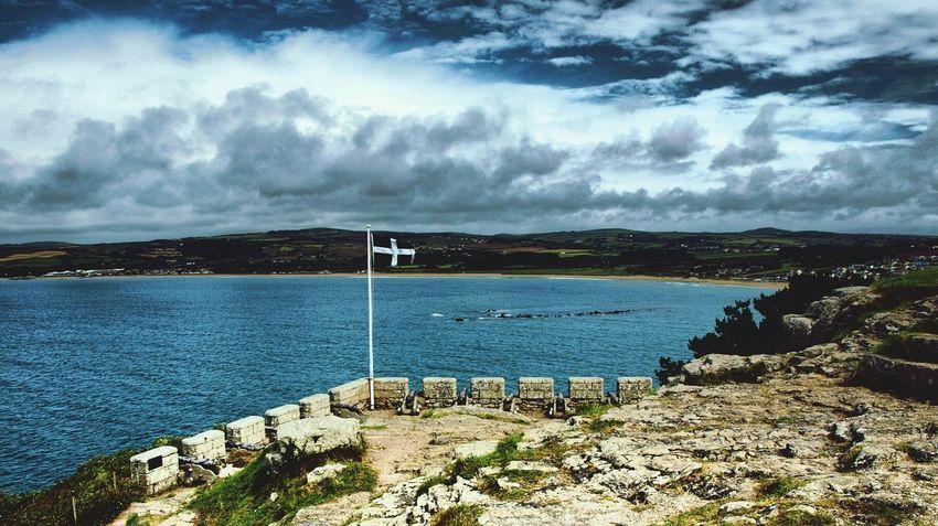 St Michaels Mount Castle Walls South Coast Cornish Flag Cornish Coast Sky And Clouds Island Sea