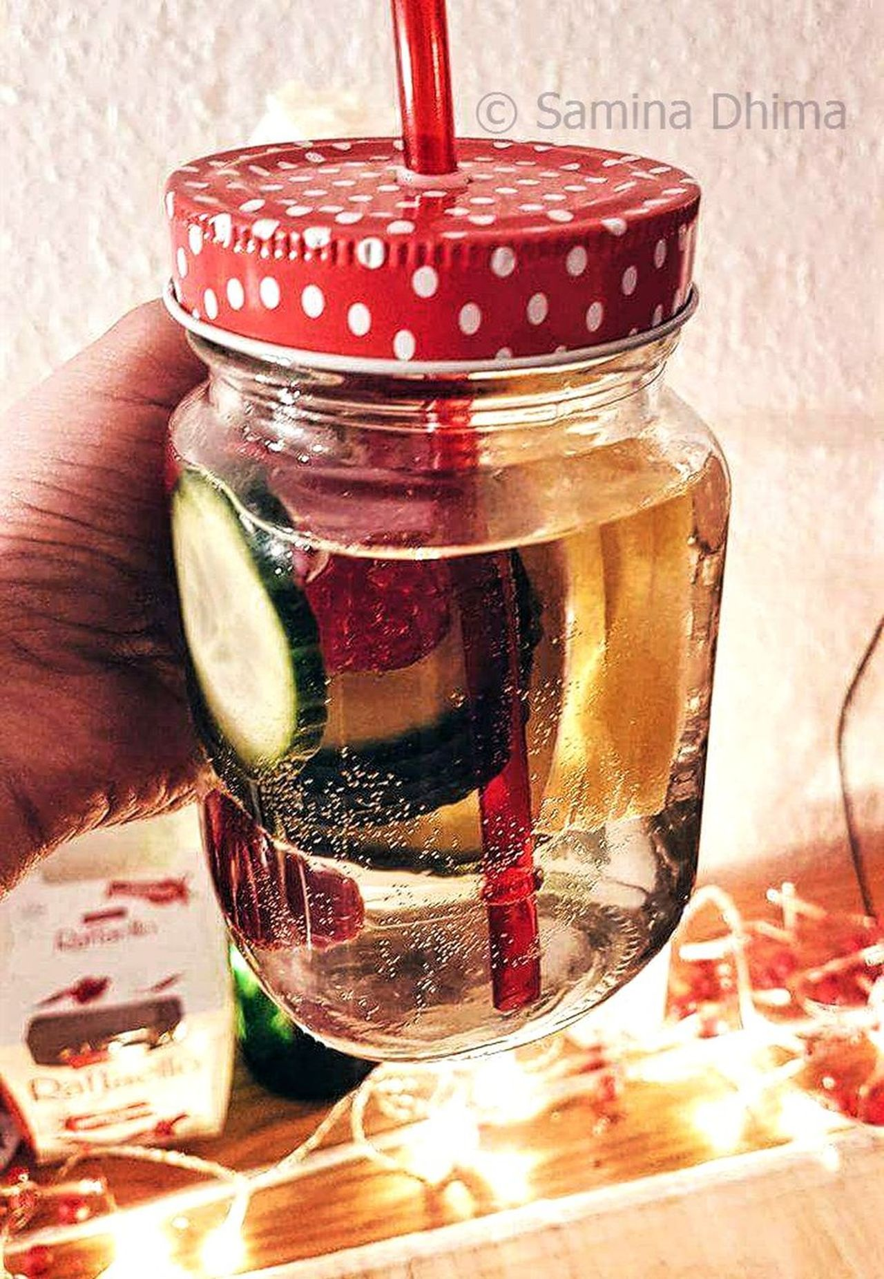 Close-up Cold Temperature Colors Day Drink Fresh Drink Fresh Produce Freshness Good Mood Healthy Healthy Eating Healthy Lifestyle Home Home Is Where The Art Is Homemade Indoors  Jar Lemon Water Lights Mint Tea No People Polka Dot Rafaelo Red Snowing