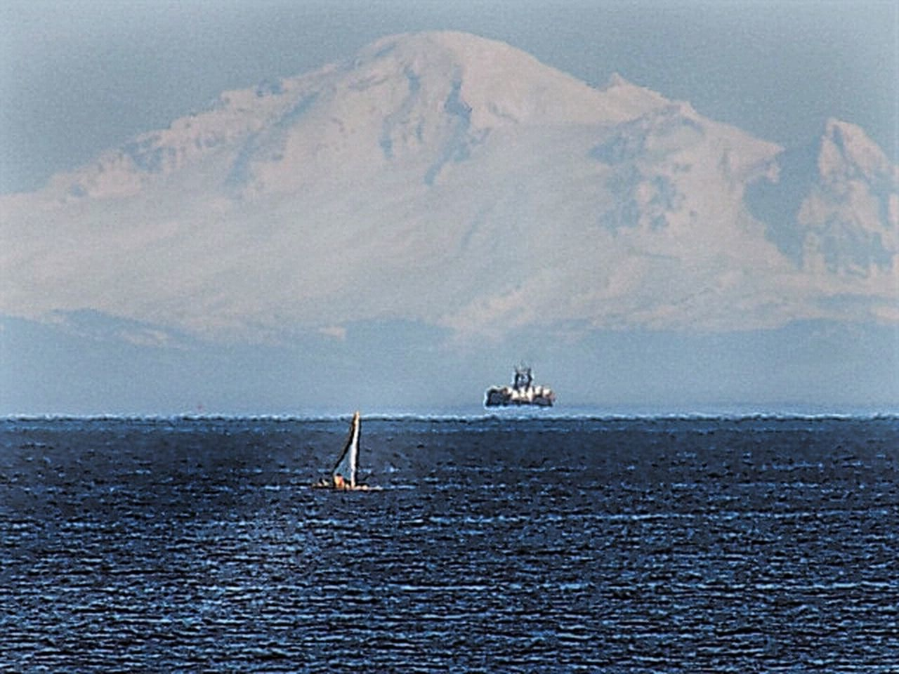 Mt. Baker Water Sea Nautical Vessel Waterfront Transportation Mountain Tranquil Scene Boat Scenics Tranquility Rippled Sailing Mode Of Transport Nature Beauty In Nature Blue Sky Sailboat Ocean Calm Mt. Baker Vancouver Island Pacific Northwest  Volcano Cascade Mountains