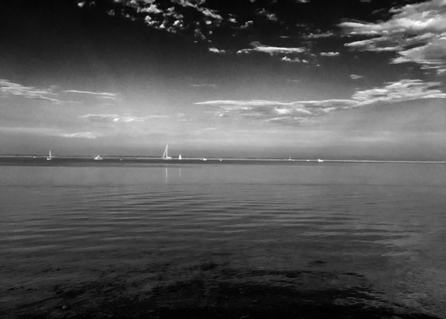 The bay at sunset First Eyeem Photo Cape Cod Summertime Summer Views Bay Waterfront Water Sky Waterscape Black And White Bay Living Nautical Marine Aquatic July 2016 Summer ☀ New Talent Monochrome Photography