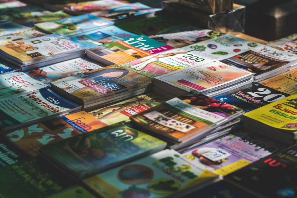 Thai book for sale in book store Abundance Alphabetography Arrangement Book Store Books Choice Depth Of Field For Sale Large Group Of Objects Market Market Stall Multi Colored Order Retail  Store Text Thai Alphabet Variation Pattern Pieces Spotted In Thailand