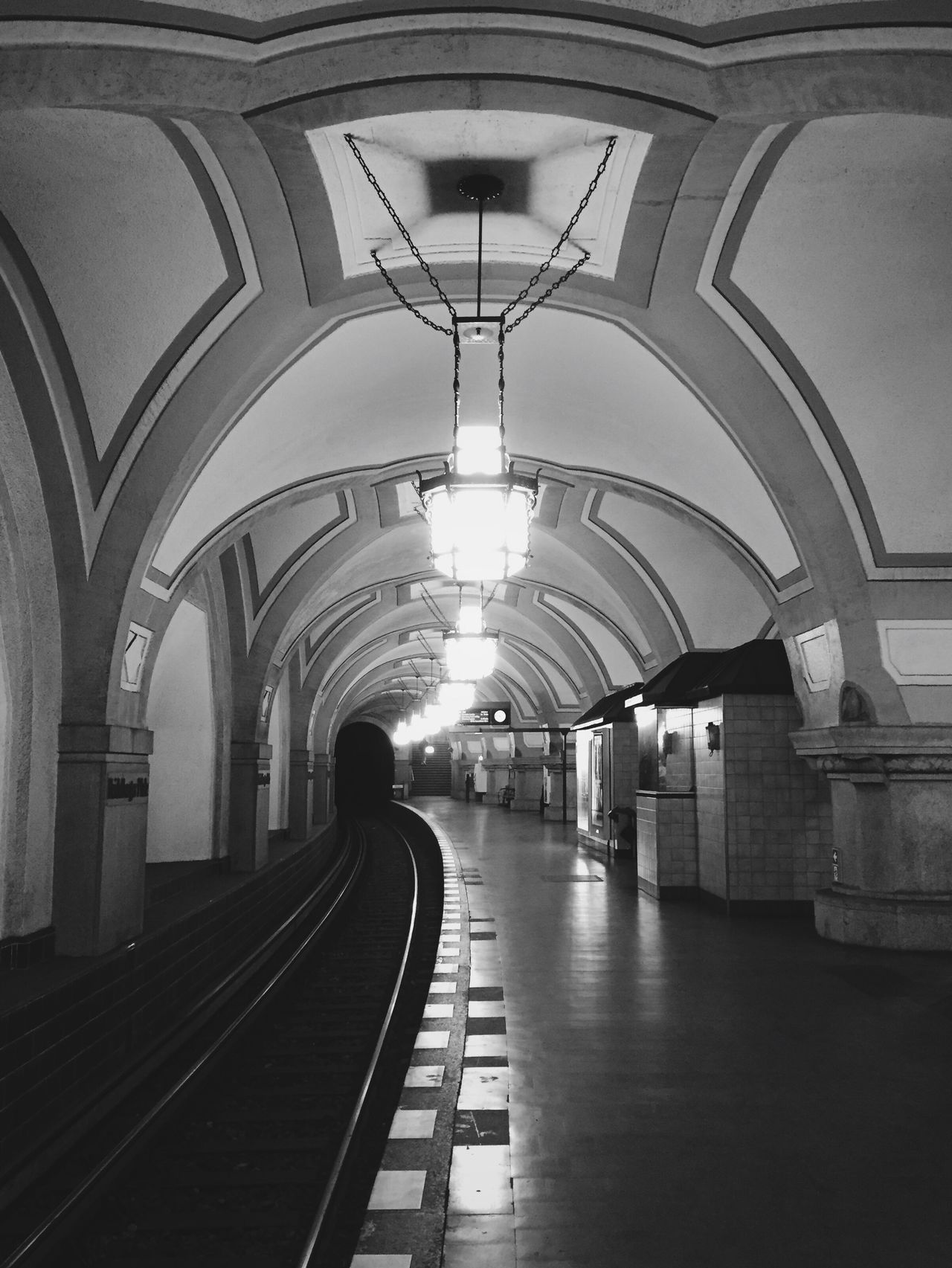 Arch Built Structure Architecture Indoors  Illuminated No People Subway Subway Station Commuting Berlin Heidelberger Platz Blackandwhite