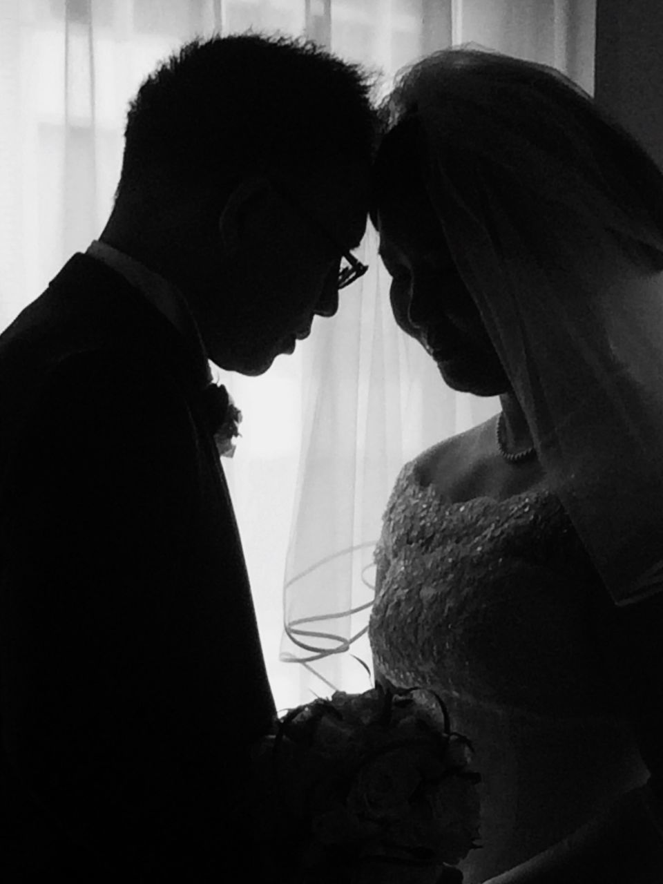 two people, real people, indoors, love, togetherness, standing, side view, men, lifestyles, young women, bonding, well-dressed, young adult, bride, day, groom, close-up, people