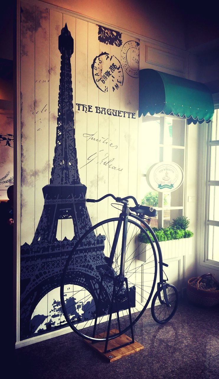 bicycle, no people, built structure, architecture, building exterior, day, indoors, close-up
