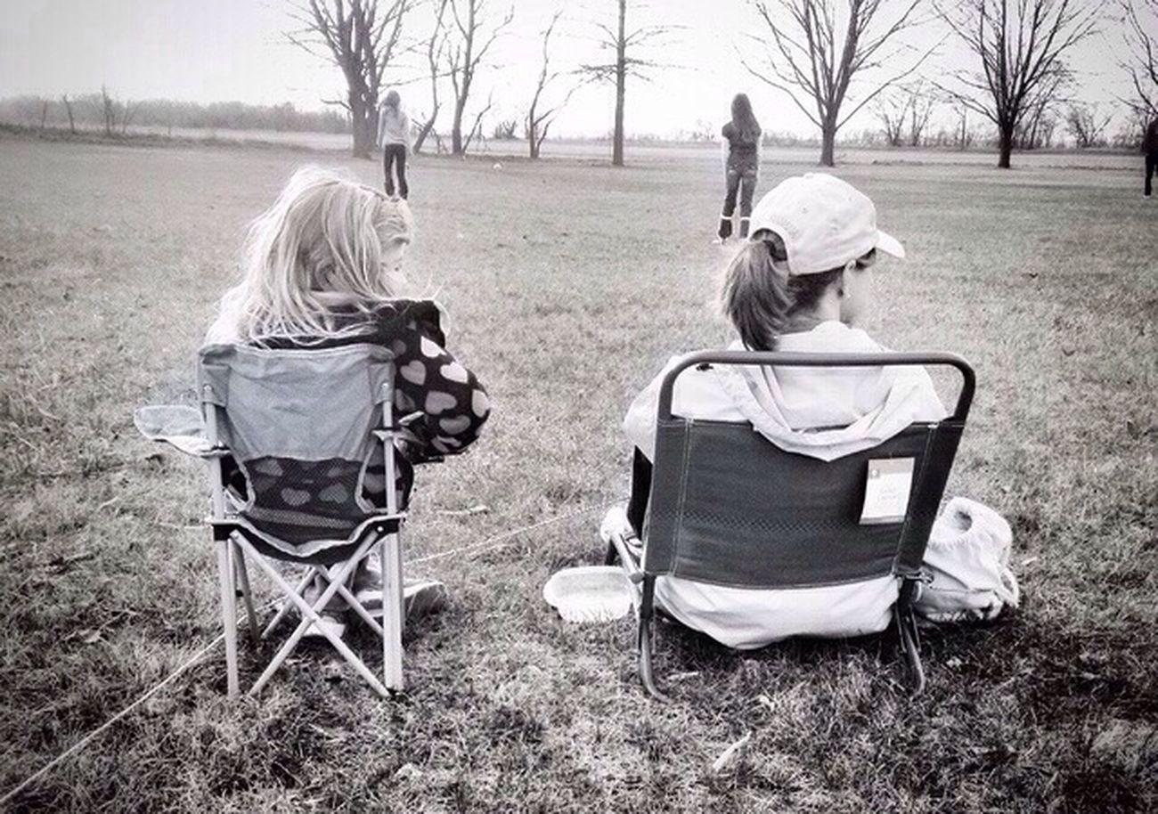 Black & White Sitting Girl