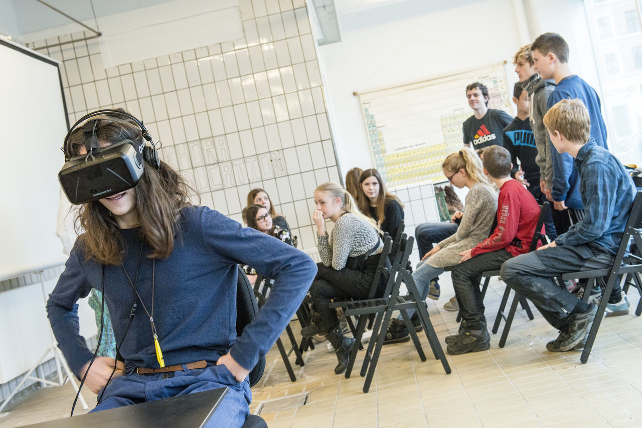 Copenhagen, Denmark. 5th February, 2016. Khora is a pop-up space in the meatpacking district of Copenhagen, where people can walk in and try different levels of virtual reality. Schools will be able to come in on field trips, companies can come in to see what is possible with VR. VR enthusiasts will be able to come in and collaborate with fellow content creators. Their goal is to create an environment where ideas about virtual reality can develop and come to life.Pictured is 13-year-old Alexander Ramskov Galamba, from Albertslund Lilleskole, as he tests out one of the VR headsets. © Matthew James Harrison Boy And Girl Child Using Virtual Reality Child Using Vr Children Using Vr Copenhagen Copenhagen, Denmark Girl Using Vr Innovation Kødbyen Learning With Virtual Reality Learning With Vr New Technology Oculus Rift Virtual Reality Virtual Reality Gaming Virtual Reality Glasse Virtual Reality Headset Virtual Reality Simulator Virtual Reality World Vr Vr Gear Vr Glasses Vr Goggles Vr Headset Vr Learning