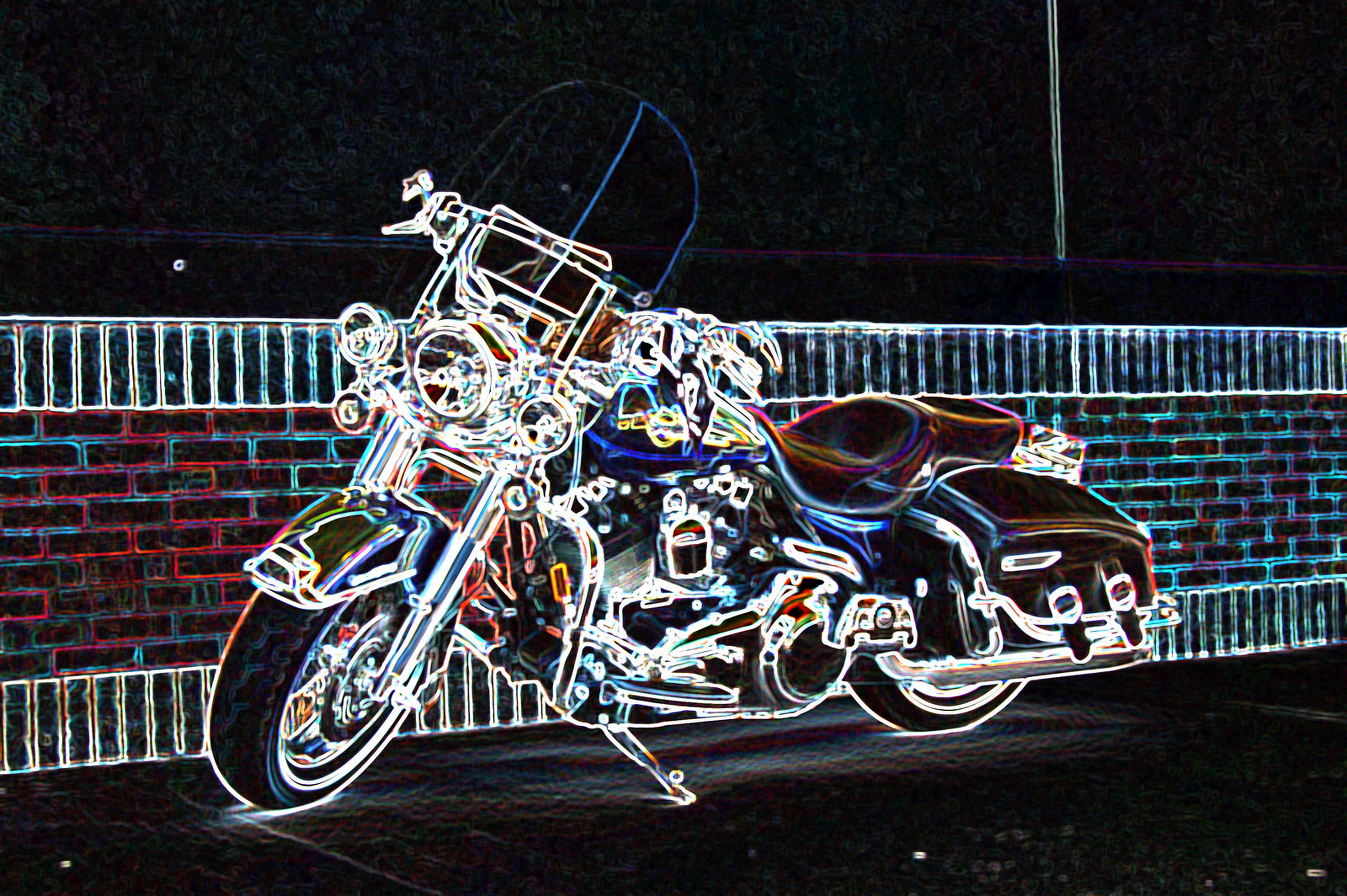 bicycle, wall - building feature, night, transportation, railing, metal, built structure, art, no people, stationary, architecture, art and craft, outdoors, creativity, graffiti, building exterior, land vehicle, mode of transport, wall, street