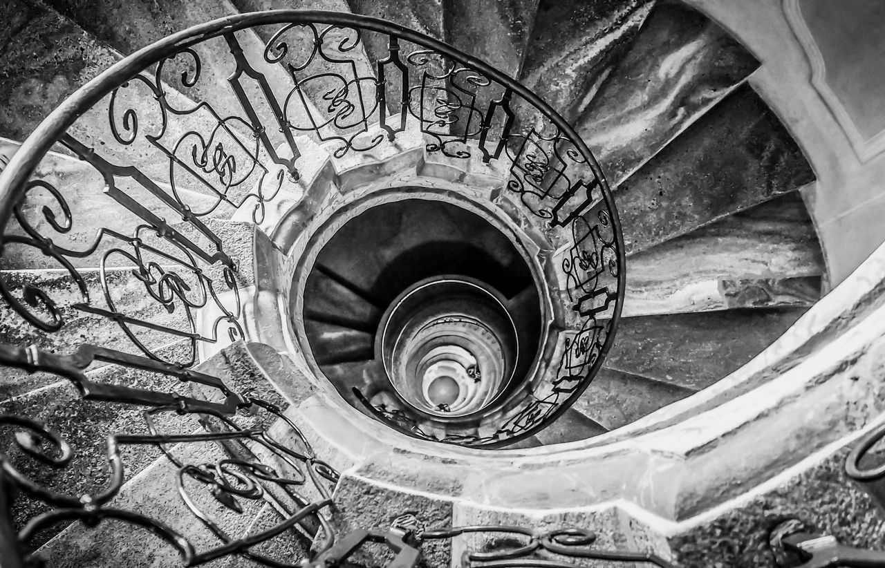 Black & White Black And White Bradley Olson Bradleywarren Photography Coil Concentric Design Hand Rail Indoors  Light Light And Shadow Looking Down Looking Up Monochrome No People Railing Railings Spiral Spiral Staircase Staircase Stairs Stairway Stairways Steps Steps And Staircases