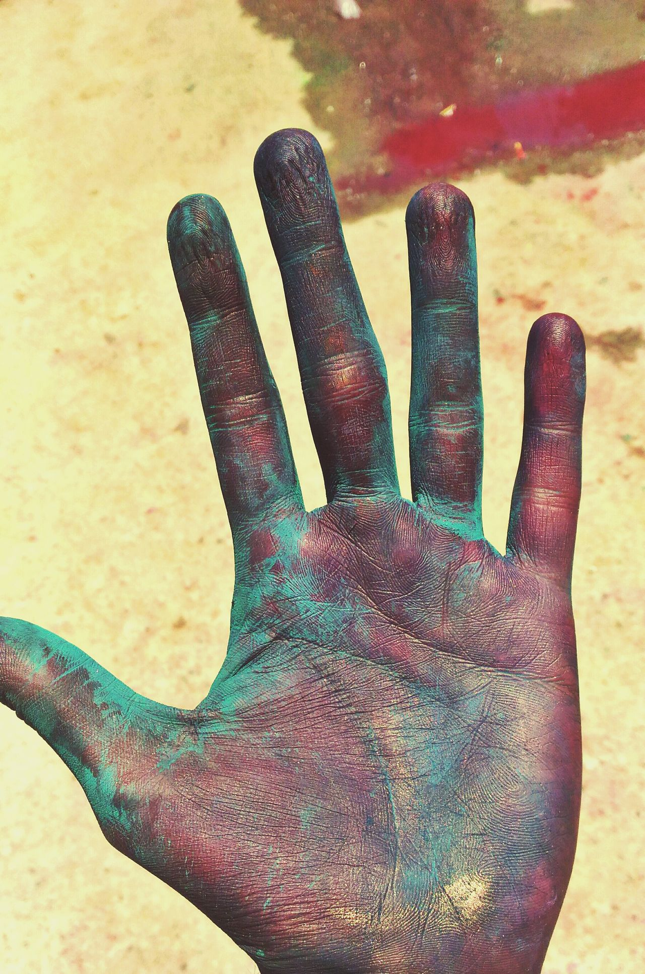 Ugly hands Ugly Hands Holi Holi Festival Of Colours Colorful Hand Details Of Colour Details Of My Hand