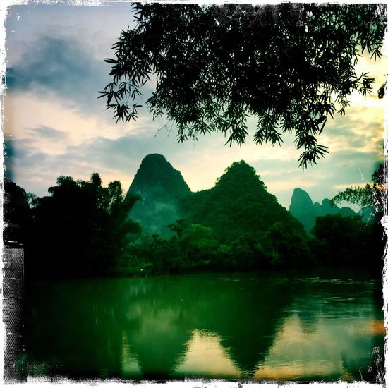Landscape View Guilin Yangshuo Sunset Clouds And Sky Mountains