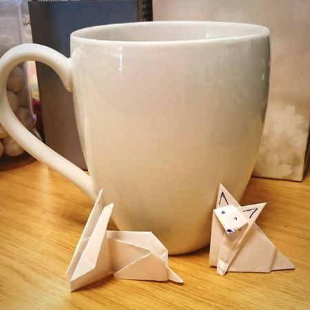 Tea with friends Taking Photos My Desk At Work Origami Tea Bored Cup Of Tea