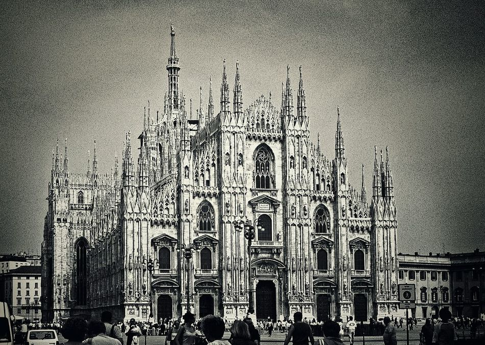 This is my favourite Duomo of all time. Decided to experiment with filters. Milano Duomo Filters Milano Italy Travel Photography Blackandwhite Film Is Not Dead Black And White Italy Holidays 35 Mm Film Black & White Film Architecture Architecture_collection Churches Duomo Di Milano Duomo Church Architecture