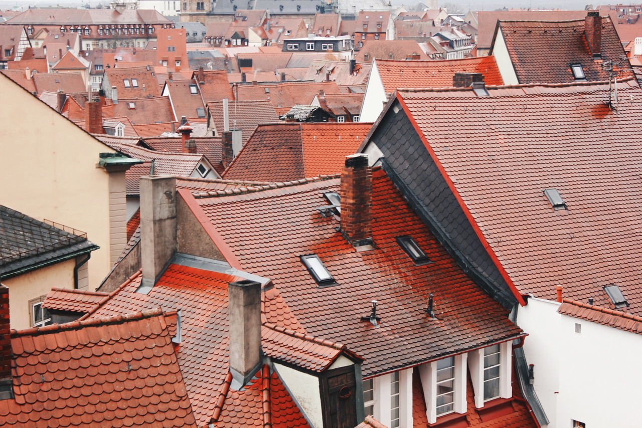 Architecture Built Structure Building Exterior Roof House Residential Structure Town Red Rooftop Full Frame Tiled Roof  No People Deutschland Bamberg  Bayern Bayern Germany Architecture Built Structure Building Exterior Roof House Residential Structure Town Red Rooftop