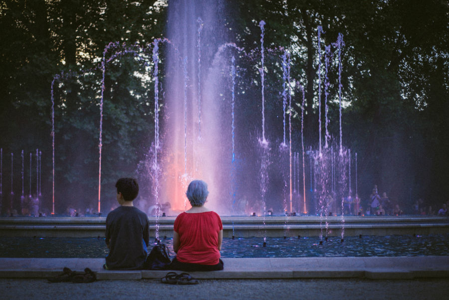 Budapest Colors Fountain Hungary Lost In The Landscape VSCO Beauty In Nature Full Length Illuminated Lightroom Nature Night Outdoors Real People Rear View Sky Togetherness Tree Two People