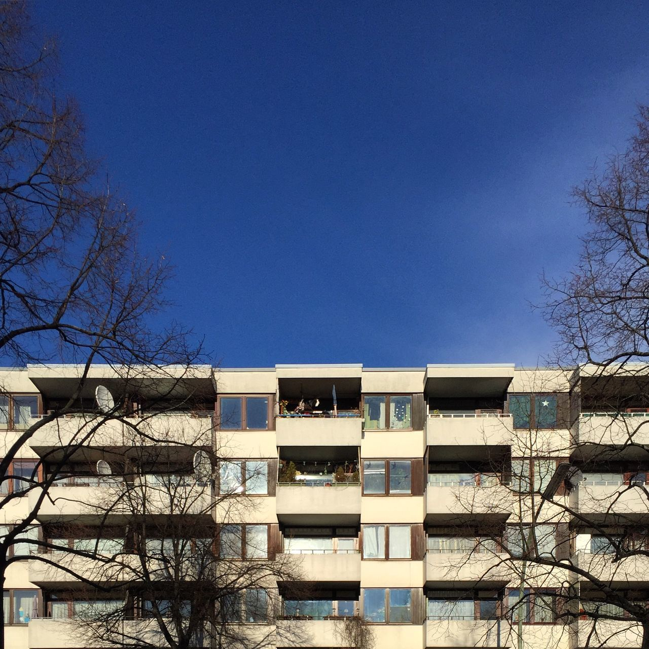 Abstract Architecture Architecture Balcony Bare Tree Berlin Berlin Photography Berliner Ansichten Berlinstagram Blue Branch Building Exterior Built Structure City Clear Sky Day Low Angle View Minimal Modern Architecture No People Outdoors Plattenbau Sky Stack Tree
