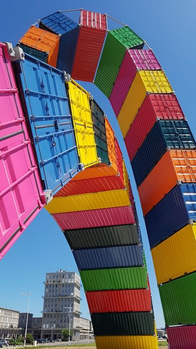 Multi Colored Clear Sky Outdoors Architecture 500anslehavre Container Building Exterior Le Havre
