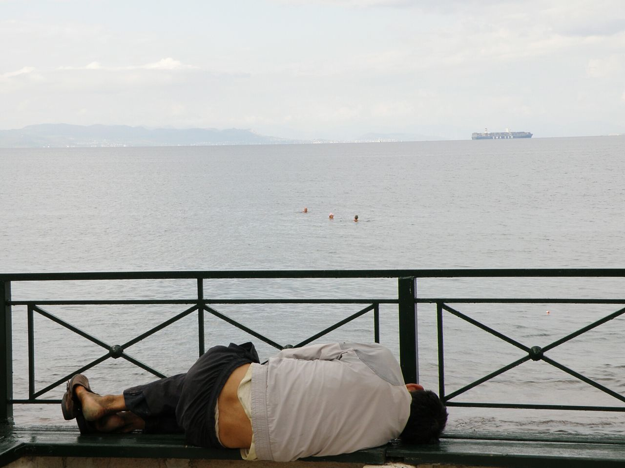 Seaview dreams Homeless Bench Sleep Seaside Kalamaki Athens Greece Hellas