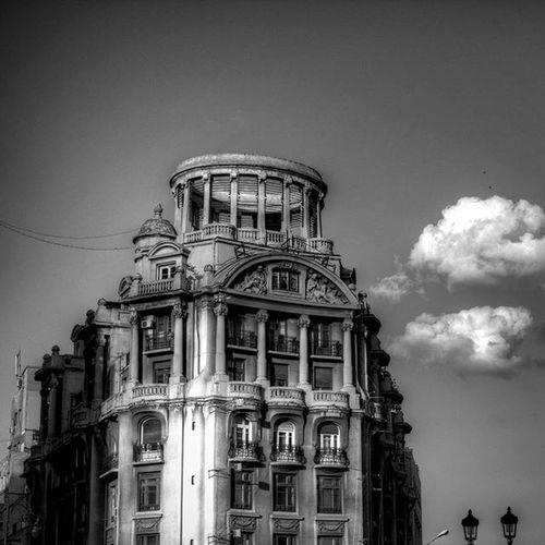 B&W Bucharest Romania Victoriei Clouds Old Building