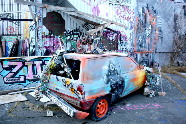 massiv street art and graffiti in Berlin, Germany Abandoned Abhörstation Alternative Berlin Broken Building Exterior Car City City Life Colors Composition Destruction Graffiti Ruined Street Art Tags Teufelsberg Travel Urban Vehicle