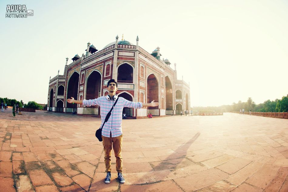 Architecture Built Structure Sunlight Clear Sky Casual Clothing Outdoors Sky Hanging Out Taking Photos Enjoying Life Lifestyles EyeEm Best Shots EyeEm Best Shots - Nature Eye Em Gallery Aqura_Photoworks Check This Out Hello World Humayunstomb Mughalarchitecture Indianpictures Leisure Activity Befreeasabird ThatsMe Fisheye FishEyeEm