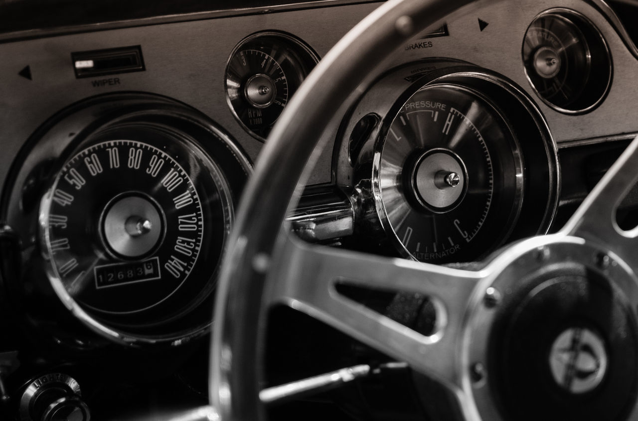 transportation, car, vehicle interior, land vehicle, dashboard, mode of transport, number, speedometer, car interior, control, speed, steering wheel, gauge, vehicle part, gear, technology, no people, close-up, navigational compass, control panel, cockpit, day, outdoors