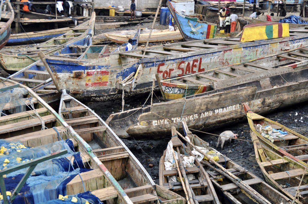 Traditional pirogue fishing boats Africa African Beauty African Pirogue Developing Country Elmina Fisherman Fishing Fishing Boat Fishing Boats Fishing Net Fishing Village Ghana Harbor Harbor View Harbour Moored Nautical Vessel Picturesque Pirogue Scenics Sea Tranquil Scene Canoe