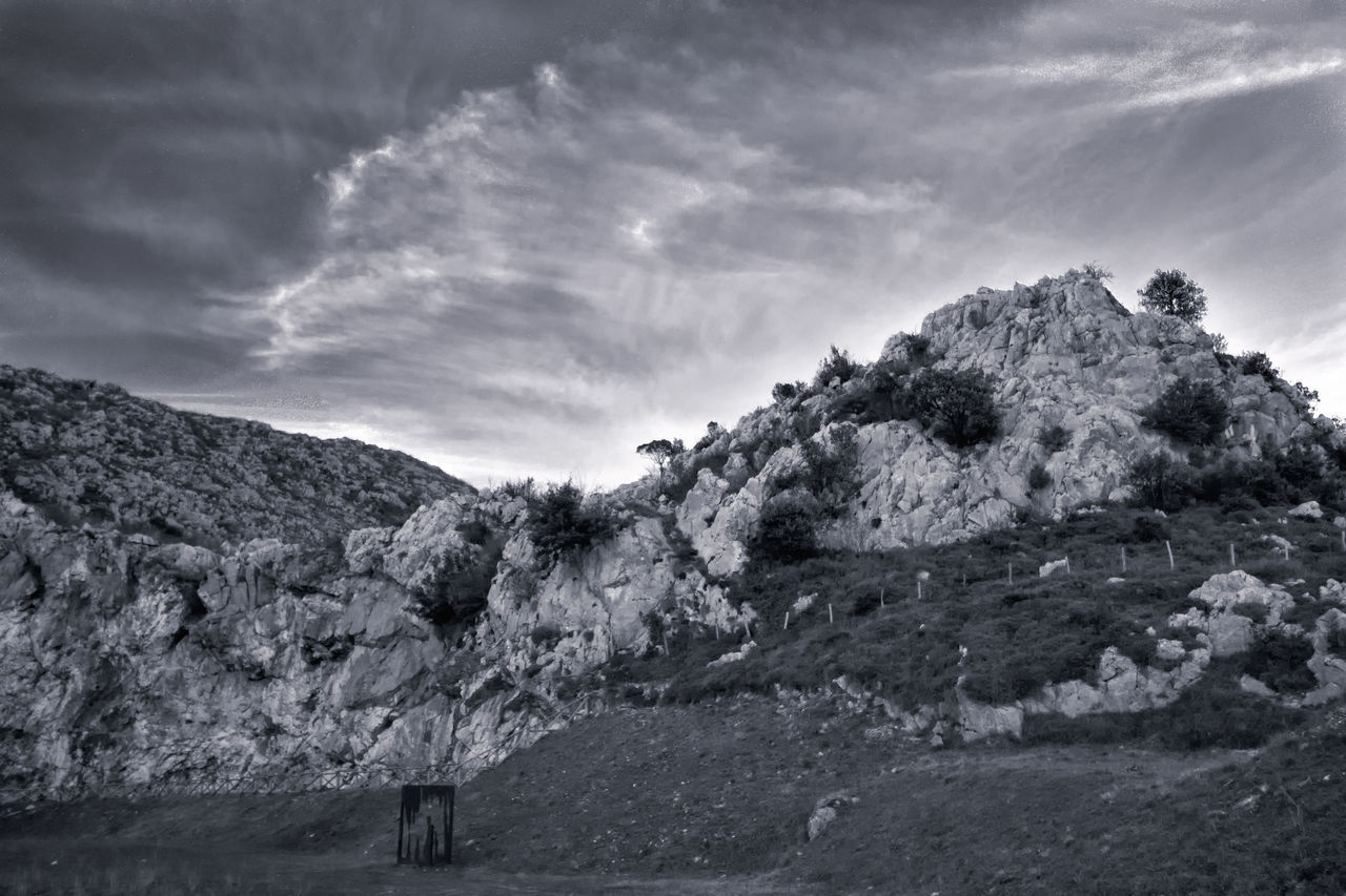 Mountain Landscape Cloud - Sky Scenics No People Sky Nature Outdoors Beauty In Nature Dusk Sky Black & White Monochrome Rocky Mountains