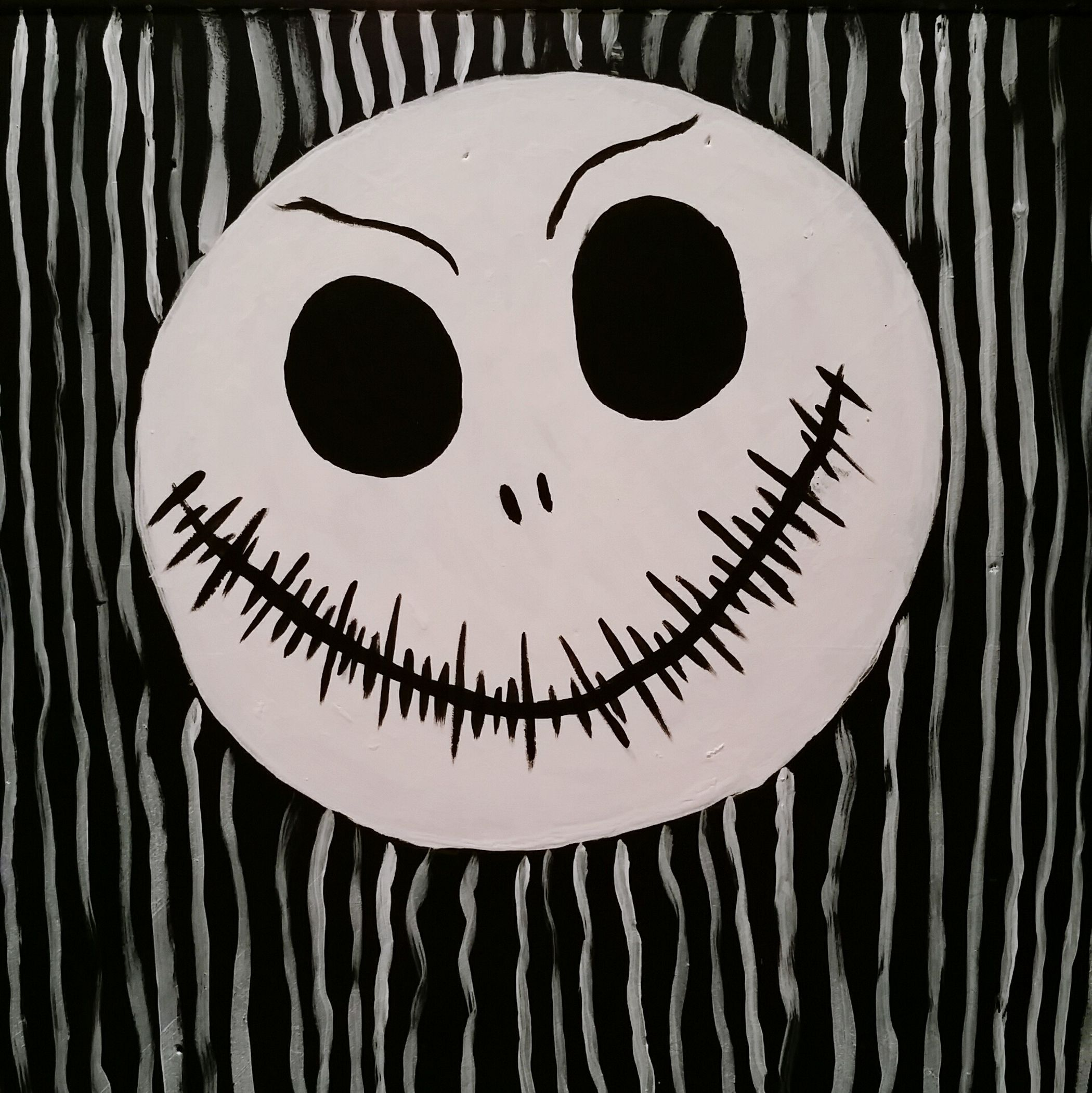 My Daughters Painting Daughters Art Jack Skellington The Nightmare Before Christmas Imagination Through A Childs Eyes Arts And Crafts Freehand Painting Black And White Tim Burton Style Childs Play