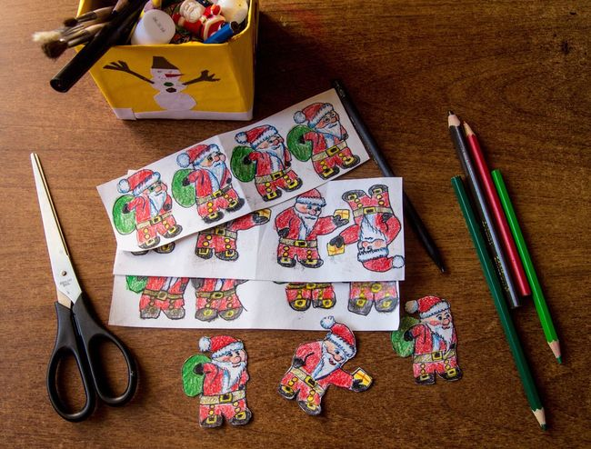 Making of paper figures of Santa Claus for Christmas Christmas Decorations Christmastime Christmas Spirit Santa Santa Claus Papercraft Paper Art Pencil Cutouts Colors Happy New Year Handmade