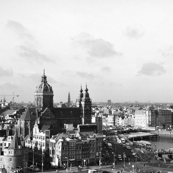 From The Rooftop Amsterdam Hilton Cityscapes The Netherlands Blackandwhite Urban Urban Landscape Holland Bw