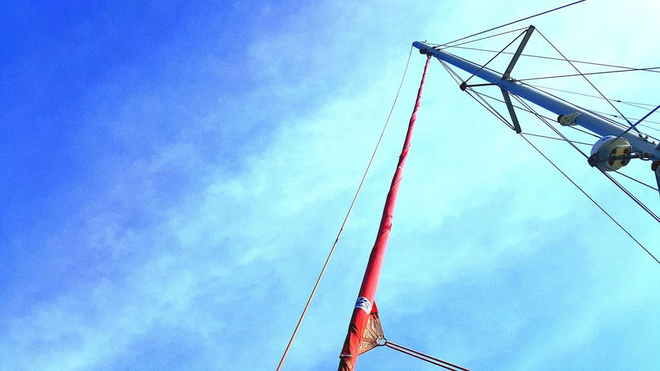 Low Angle View Sky Day Outdoors Red Blue No People Ship On The Ship Yacht On The Yacht