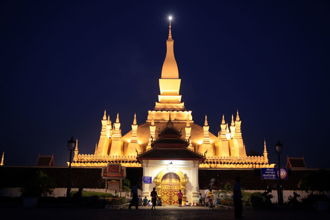 architecture, religion, place of worship, built structure, night, illuminated, building exterior, gold colored, spirituality, sky, outdoors, real people, travel destinations, clear sky