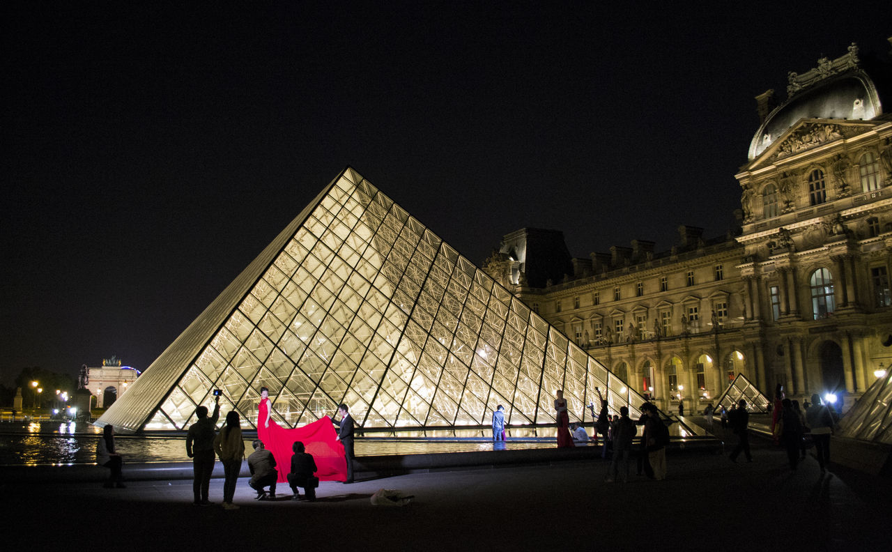 Architecture Louvre Model Nightphotography Nigth  Paris Paris, France  ParisByNight Pyramide Du Louvre Red Dress