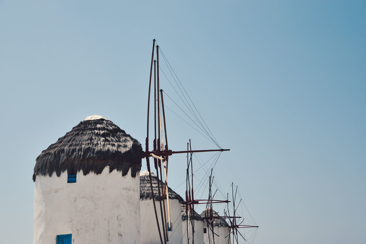 Animal Themes Architecture Blue Building Exterior Built Structure Clear Sky Day Low Angle View Mykonos Mykonos,Greece Nature No People Outdoors Sky The Architect - 2017 EyeEm Awards The Great Outdoors - 2017 EyeEm Awards Windmills