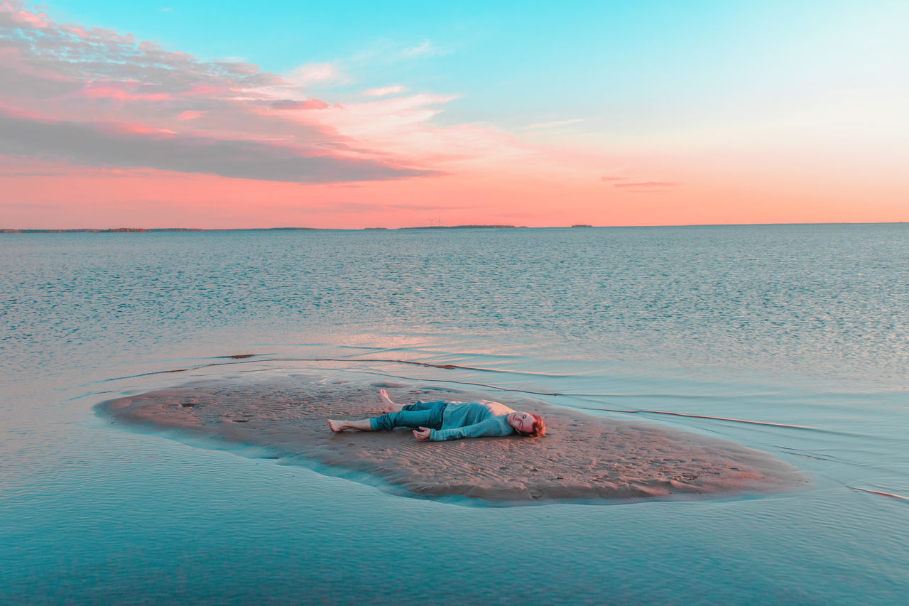 beach day EyeEm Best Shots EyeEmNewHere horizon over water Nature one person outdoors person sand sea sky sunset water Breathing Space