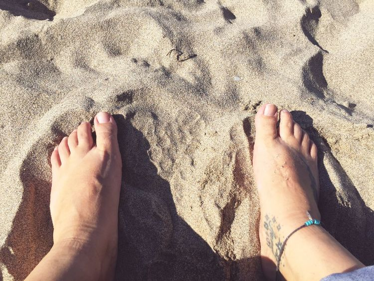EyeEm Selects Feet Sand Beach Barefoot Real People Low Section High Angle View Personal Perspective Outdoors Relaxing Anklet