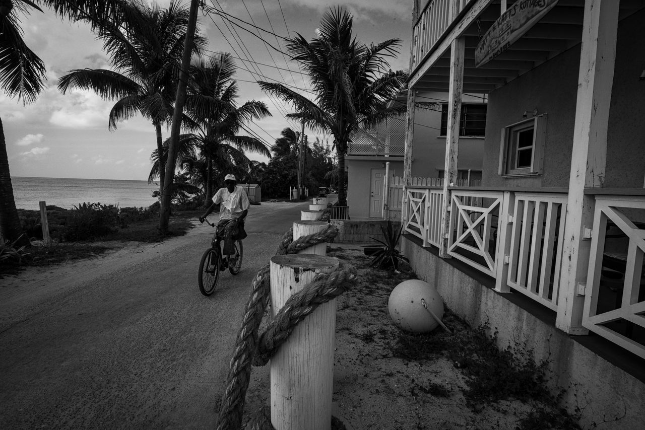 Island style Architecture Beach Beachfront Bicycle Bimini Blackandwhite Photography Building Exterior Built Structure Coconut Trees Cottage Day Islandlife Ocean View One Person Outdoors Palm Tree Photographyisthemuse Sea Sky The Bahamas Transportation Tree Water Wooden House