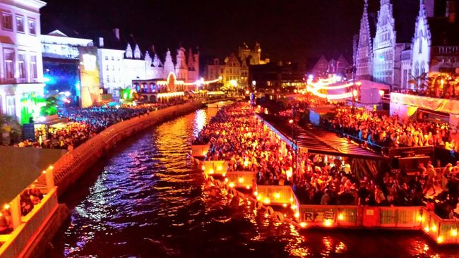 Gent,Belgium Fete De Gand Festivals Lights City Lights Night Lights Concert Lights Fiesta