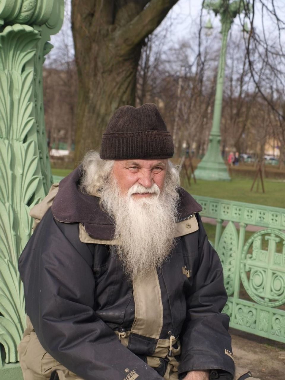 beard, senior adult, front view, one person, real people, jacket, outdoors, mustache, senior men, looking at camera, warm clothing, smiling, portrait, happiness, standing, day, only men, adult, adults only, people